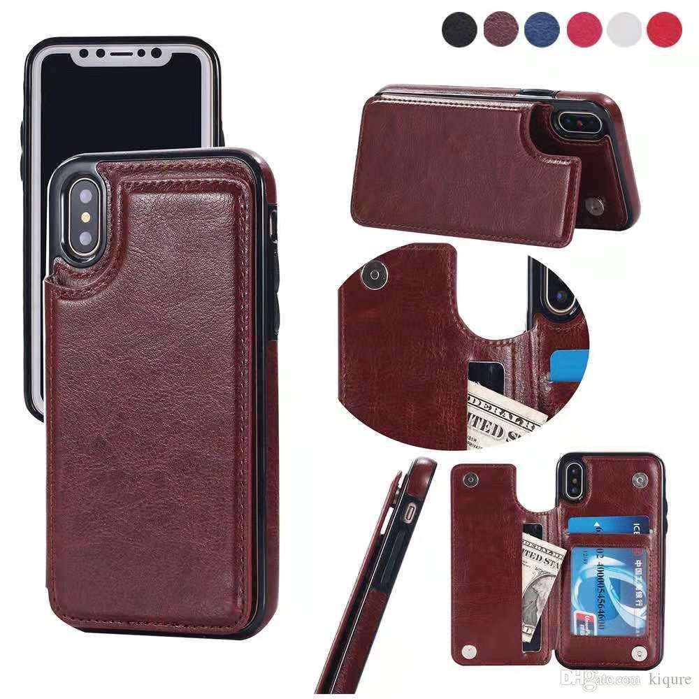 Für iPhone Xs Max Xr iPhone X 6/6 s 7/8 7p / 8p Samsung S9 plus Mappenkasten Luxus-PU-Leder-Handy-rückseitige Abdeckung mit Kreditkartenfächern
