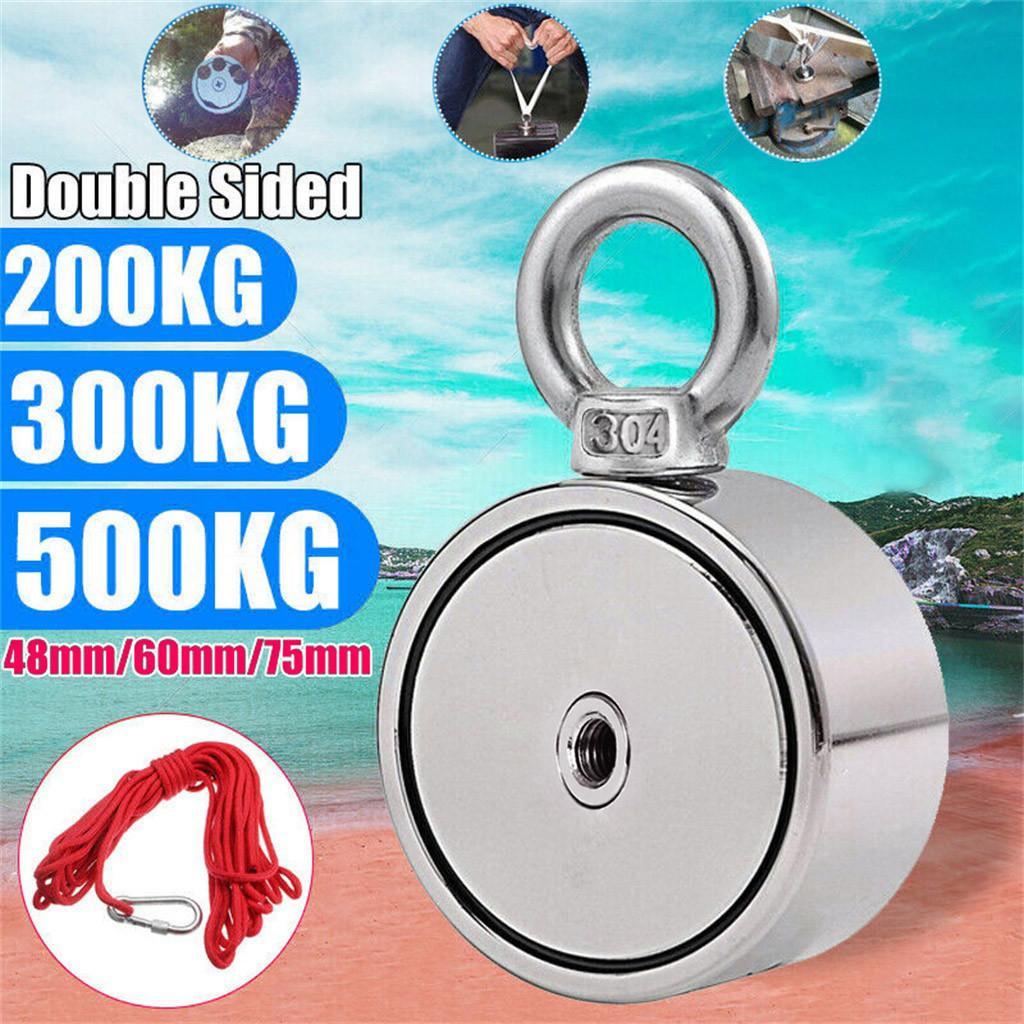 200/300 / 500KG poderosa dupla face neodímio metal Magnet Detector Kit Pesca 10M Strong Strong Corda aimant puissant 19AUG30