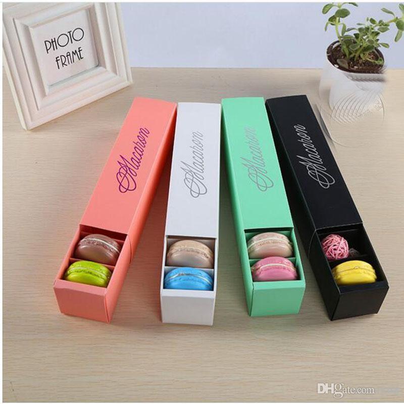 Macaron Boîte gâteau Boîtes Fait maison Chocolat Macaron Boîtes à biscuits Muffin Boîte de papier d'emballage au détail 20.3 * 5.3 * 5.3cm Noir Rose Vert