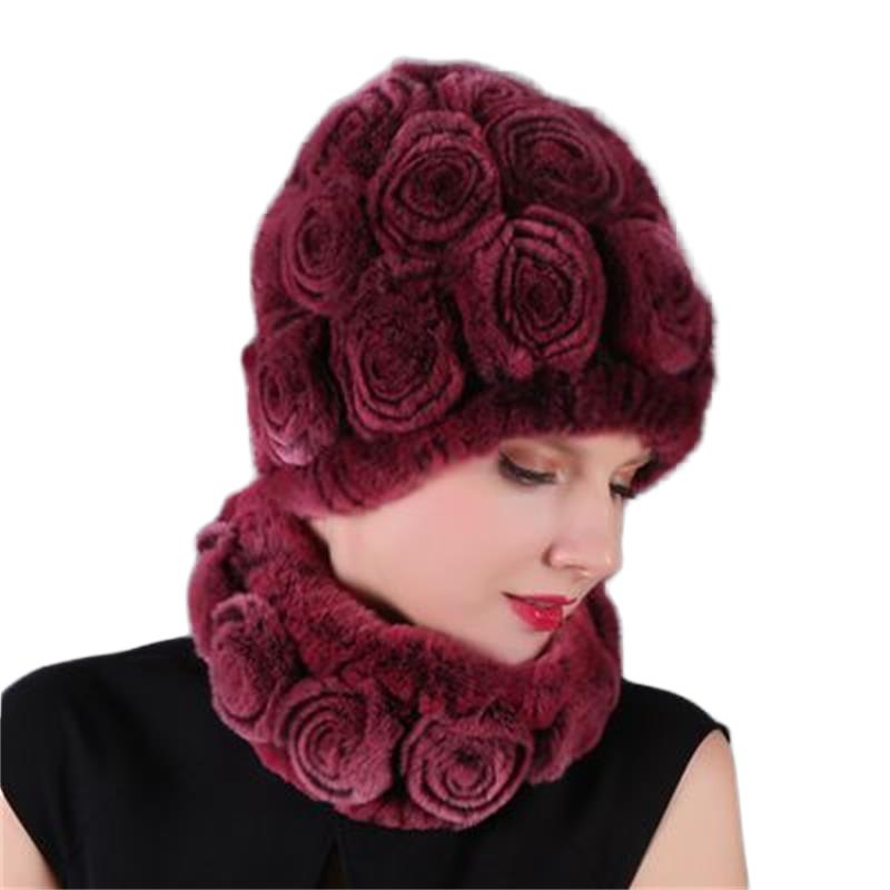 headgear scarf set rabbit hair hats winter quality chenille soft cap scarves rose colorful free size adult