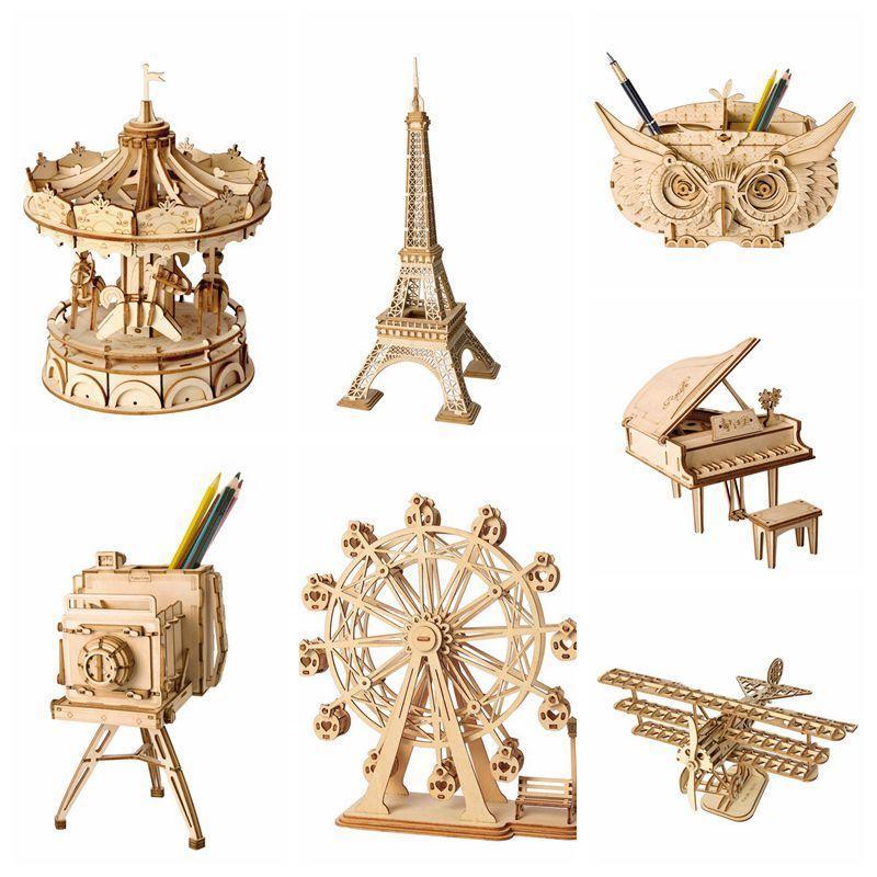 Rolife la decoración del hogar bricolaje de madera miniatura de la estatuilla del rompecabezas 3D de madera Asamblea Modelo de la vendimia Accesorios de escritorio Decor Craft Y200106
