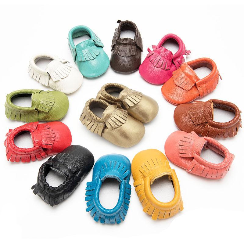 Cuero genuino de la niña de los zapatos de los primeros caminante Zapatillas Calzado antideslizante infantiles de los zapatos de cuero del bebé Andadores 0-24 Meses