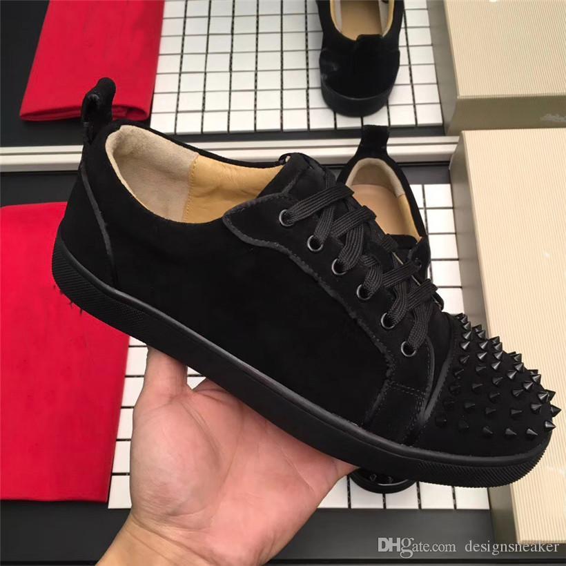Frauen Männer Spike Low Cut Sneaker rote alleinige Partei-Hochzeit Leder Spitzen verzierte Lace-up beiläufige Schuh-Turnschuh Chaussures