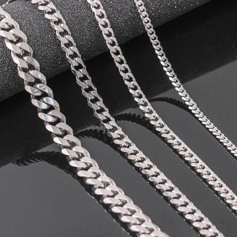 Regalos de la joyería de acero inoxidable collar Cuban Link cadena de Hip Hop de los hombres de 4-6 mm Tamaño