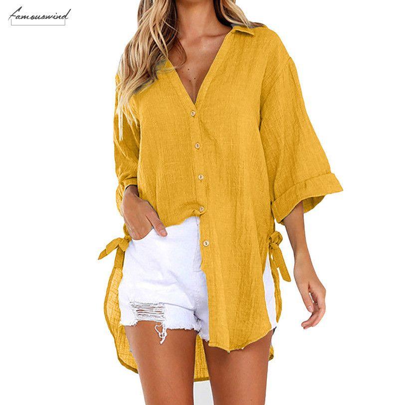 Вершины лета женщин Сыпучие кнопки Длинная рубашка платье хлопок дамы Повседневная рубашка женщин V шеи Sexy Holiday Beach с длинным рукавом