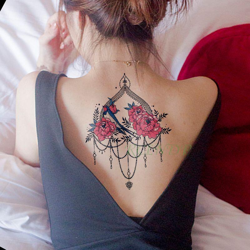 Imperméable à l'eau temporaire tatouage autocollant pivoine fleur collier oiseau faux tatouage flash tatoo autocollants art tatouages pour fille femmes hommes