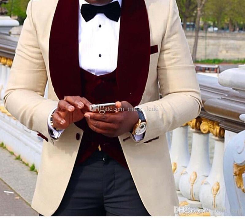 Красивый Шампанское Жених Шаль Лацкан Жених Смокинги Мужские Свадебное Платье Человек Куртка Блейзер Выпускной Ужин 3 Шт Костюм(Куртка+Брюки + Галстук+Жилет)