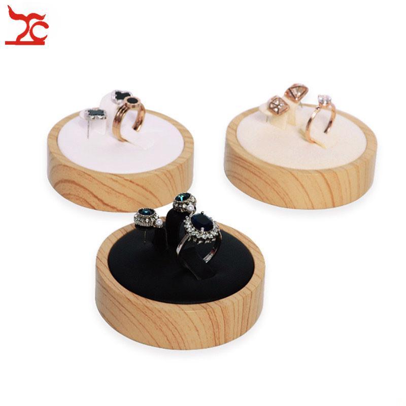 Forme circulaire Mode cône en bambou bois PU cuir Anneau d'affichage Porte Bijoux Présentoir Bijoux Boucle d'oreille Présentoir