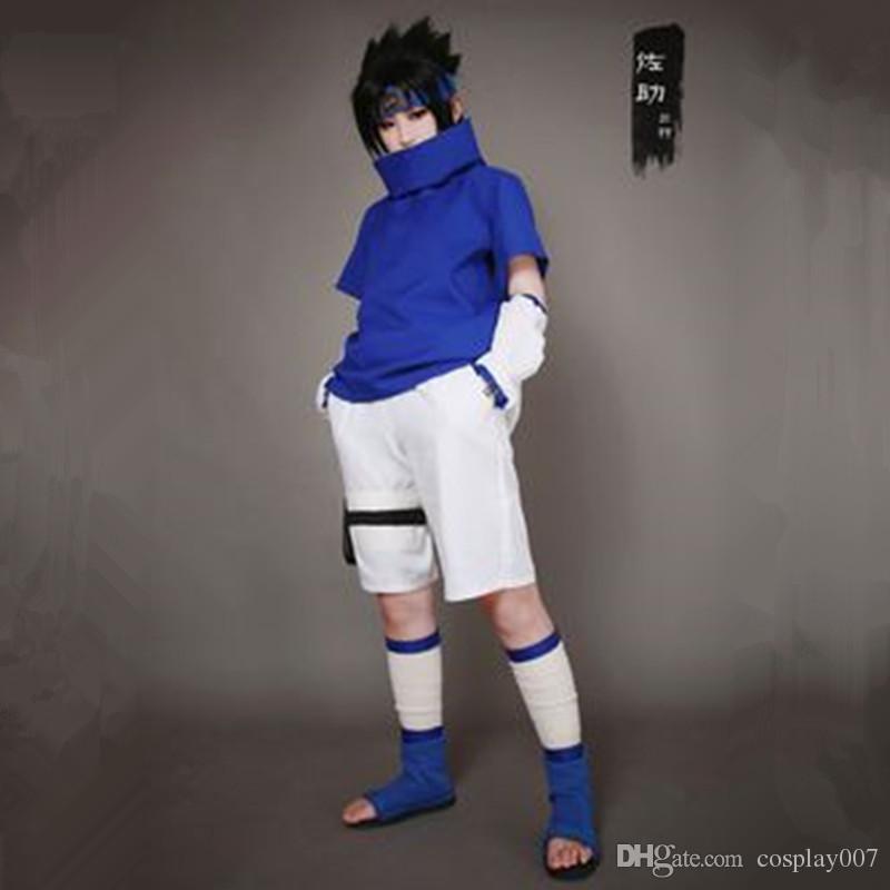 Uchiha Sasuke cosplay disfraces Uchiha Sasuke ropa joven anime japonés Naruto ropa disfraz de disfraces de disfraces azul
