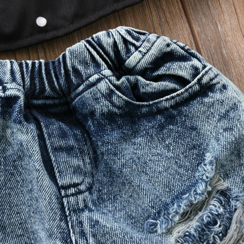 Pudcoco Toddler Kid Baby Girls Clothes Denim Jeans Pants Hole Ripped Trouser Bottoms