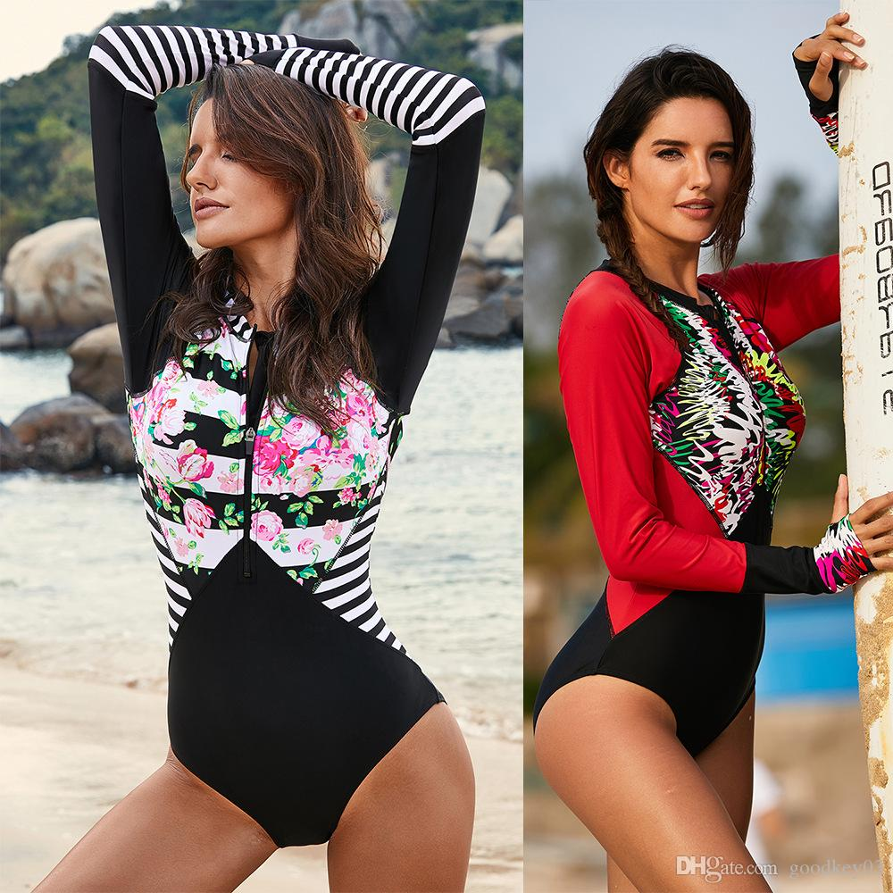 Women One Piece Long Sleeve Floral Stripes Printed Surfing Swimsuit Bathing Suit
