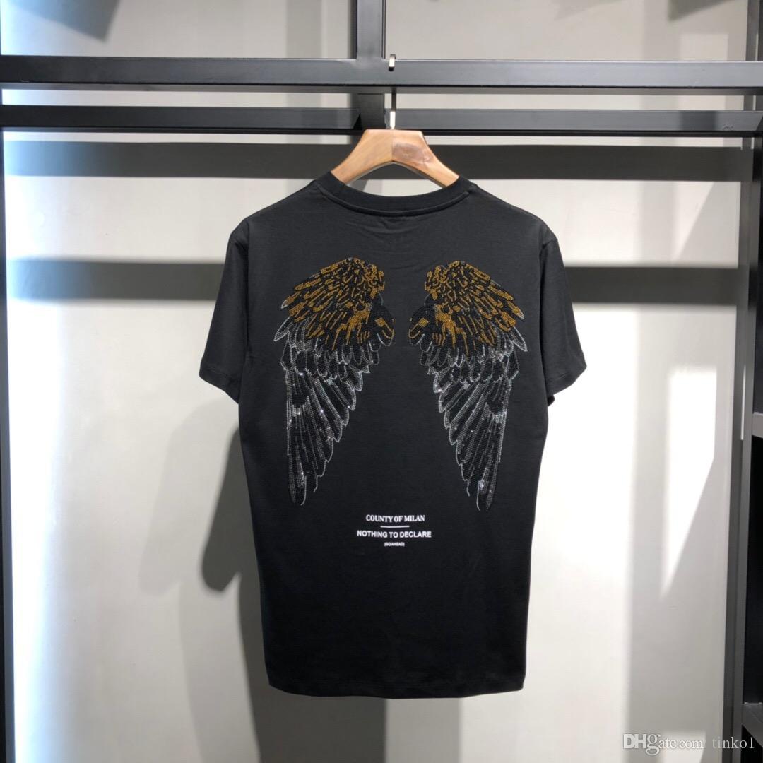Новые горячие летние футболки с коротким рукавом Set auger angel wings Футболка Футболки мужские премиум футболки белые топы