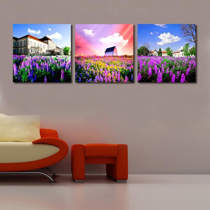 Tempo soleggiato lussuoso stile architettonico viola Lavanda Poster della decorazione della casa della tela di canapa Pittura Stampa parete Immagine per il salone