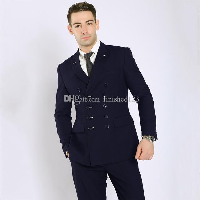 Classic Style Double Breasted Navy Blue Groom Tuxedos Peak Lapel Men Suits Wedding/Prom/Dinner Best Man Blazer (Jacket+Pants+Tie) W271