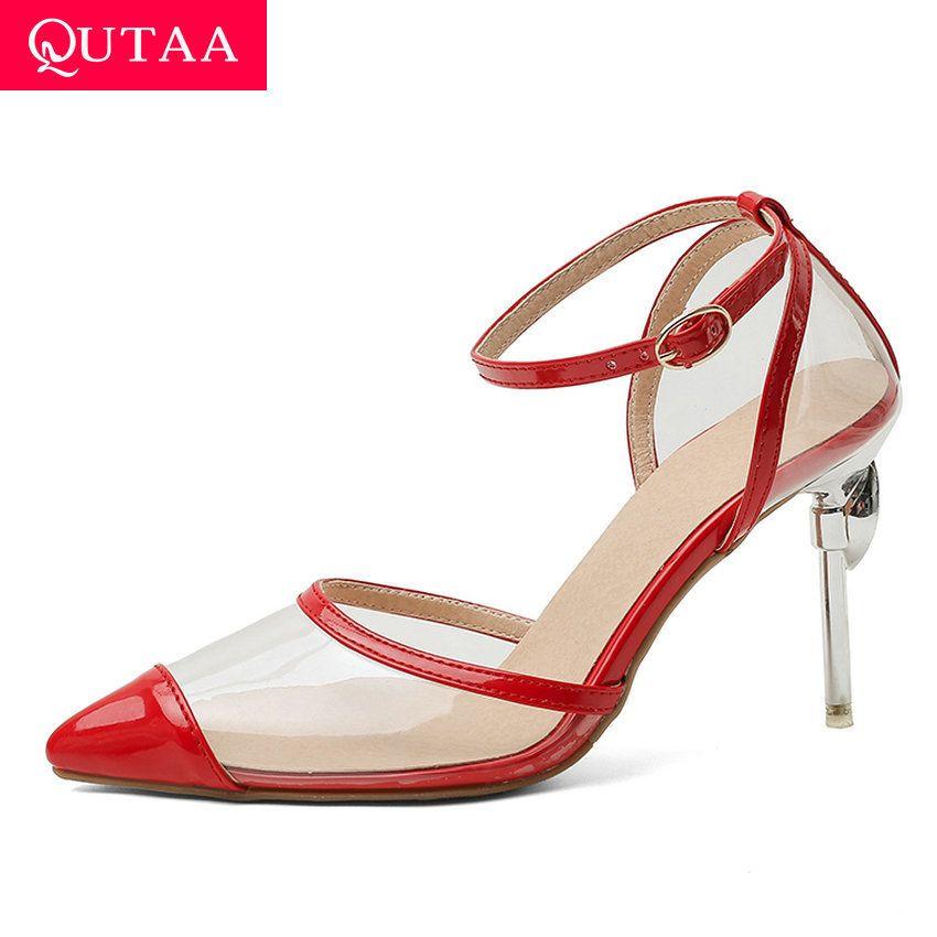 QUTAA 2020 Verão Fina salto alto Senhoras sapatos Moda Pointed Toe Buckle Sandálias de couro PU Mulheres transparentes bombas de tamanho 34-43