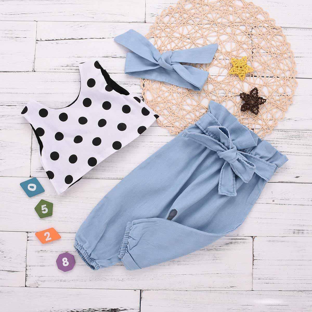 3 STÜCKE Kleinkind Kinder Baby Mädchen Weste Tops+Streifen Bogen Hosen Kleidung