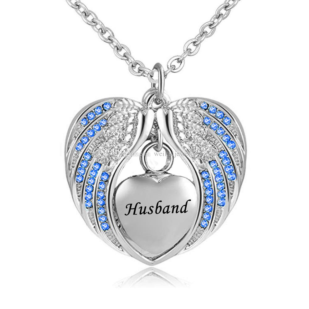 Husband Angel Wing Urn Necklace for Ashes Cremation Memorial Stainless Steel Heart Keepsake Birthstone crystal Pendant Necklace Jewelry