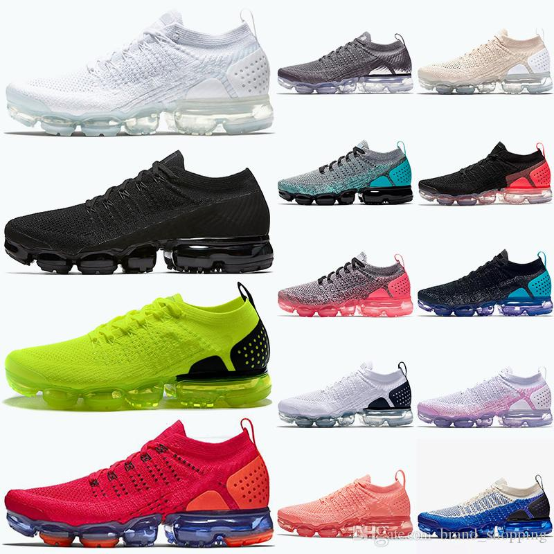 Wholesale FK Knit 2.0 Women mens running shoes Triple white black Red Orbit Volt Grey Rust Pink Breathable trainers Athletic sport sneakers