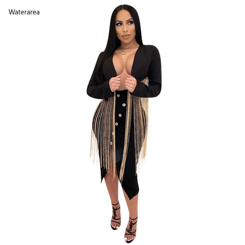 2020 New Women Tassel Splicing Open Stitch Long Sleeve Long Blazers Vintage Female Sexy Night Club Party Tops Outcoat
