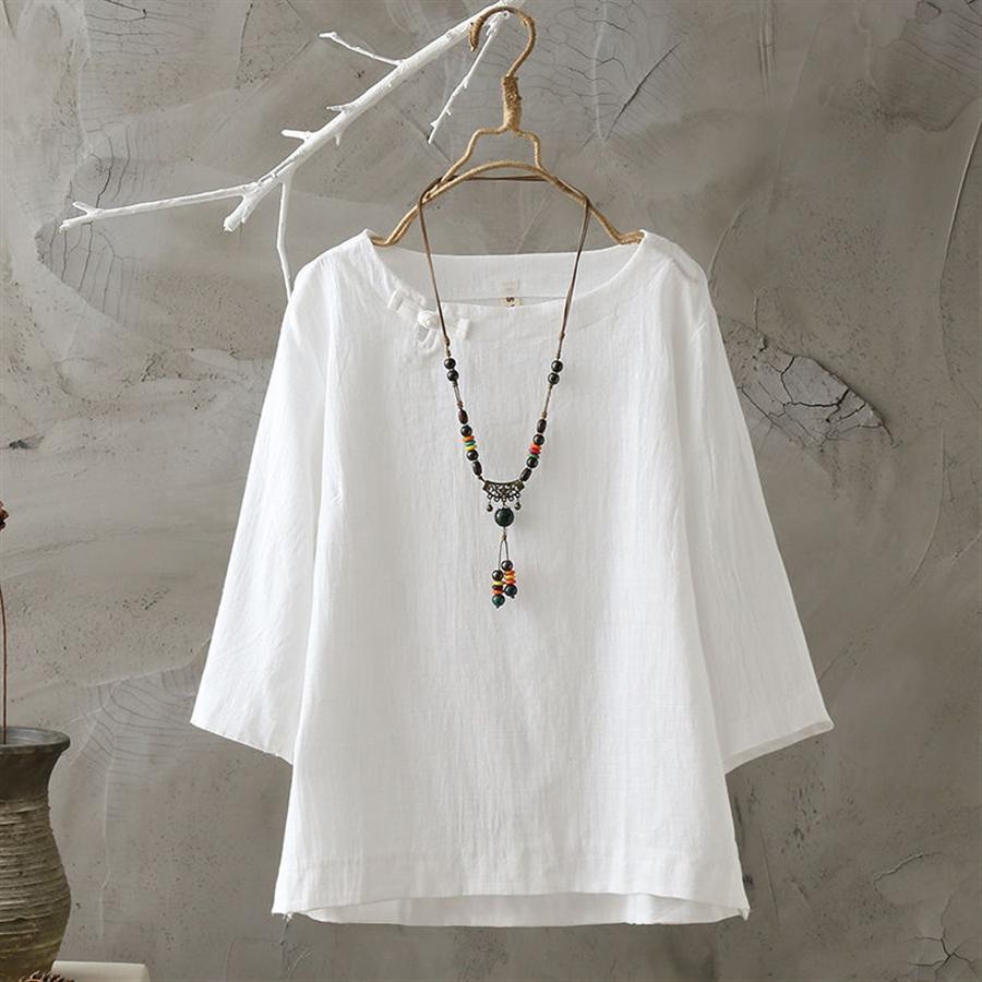 100 cotton/linen 2019 fashionable white loose T- t-shirt dress women's short sleeve round collar shirt large size women's dress