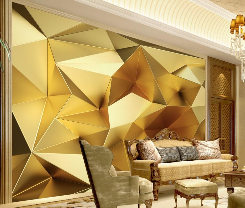 Luxurious Golden Geometric Polygon 3D TV Backdrop Wallpaper Custom Mural Abstract Mural Painting Wallpapers Free Shipping