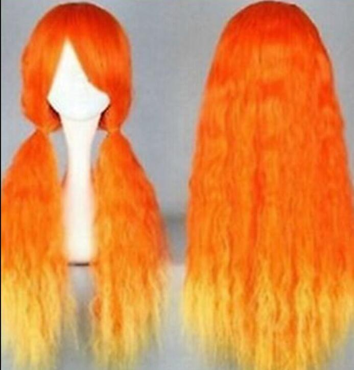 Peruca frete grátis Cos orange amarelo longo encaracolado cosplay peruca cheia 26