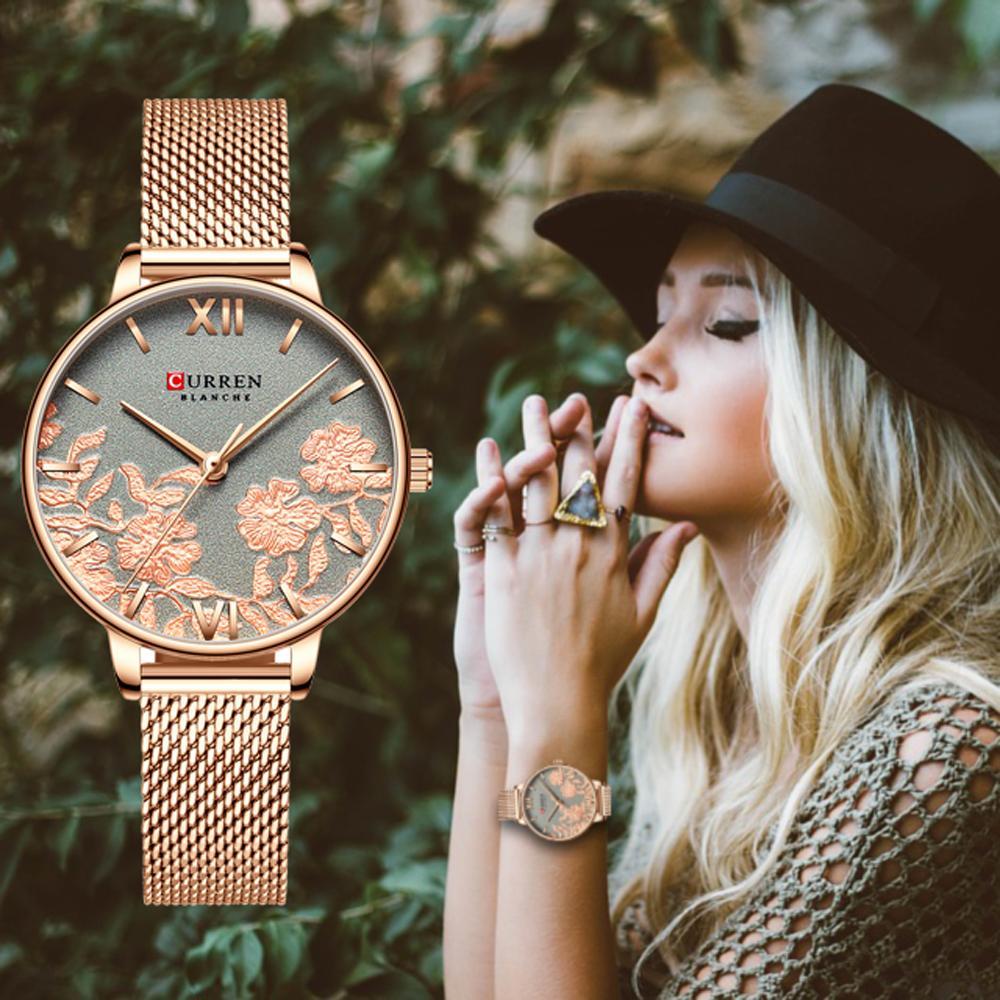 CURREN Женщины Часы Top Brand Роскошные нержавеющей стали ремешок наручные часы для женщин Роза Часы Стильные кварцевые женские часы