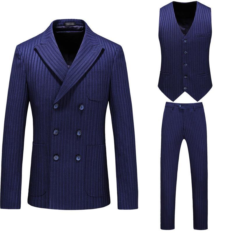 Homens Ternos Blazers Antun 2021 Mais Recentes Homens Terno Stripe Business Slim Sets Vestido de Noiva 3 PCs (Blazers + Colete + Calças) Grande Tamanho S -5XL