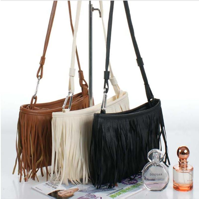 Cheap New Hot Sale!! Womens Tassle Tassel Fringe Faux Suede Shoulder Messenger Crossbody Bag Handbag Purse Black Brown White