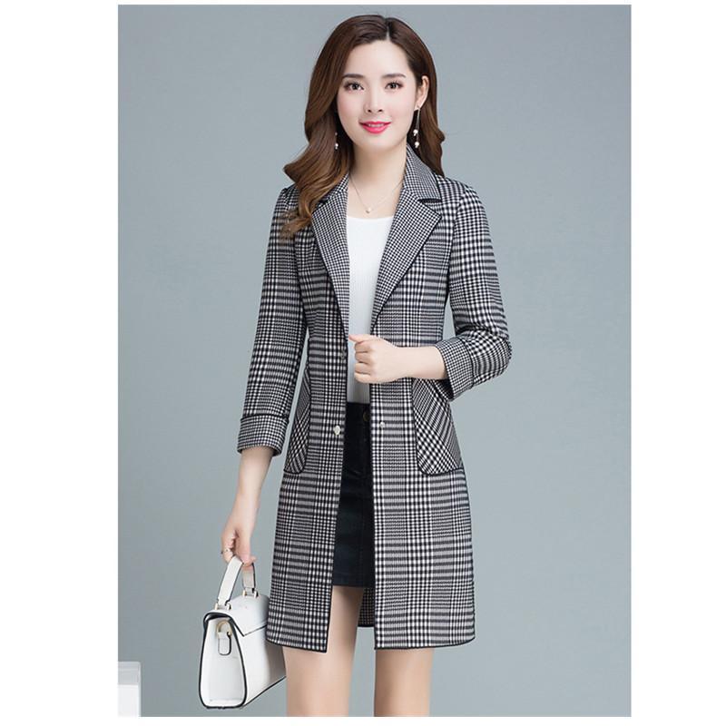 Kore kadın rüzgarlıkları ceket İlkbahar sonbahar Moda kadın yağmurluk Yeni Tek göğsü Bayanlar mont Yeni Ekose trençkot