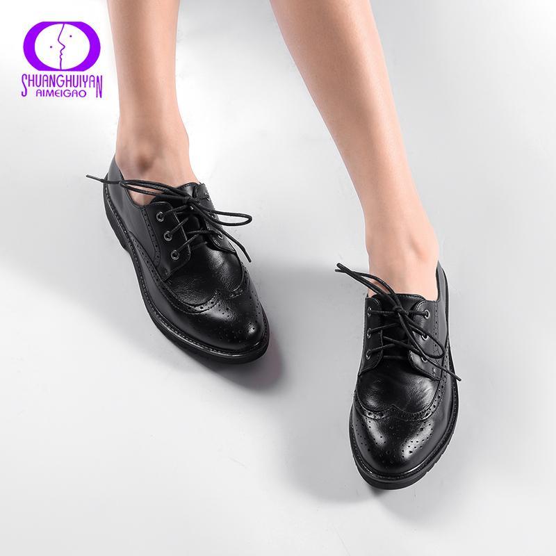 Retro Brogue Hakiki Pu Deri Kadın Oxford Ayakkabı İngiliz Stil Vintage Cut-çıkışları Düz Ayakkabı Kadınlar Için Rahat Oxford Ayakkabı Y190704
