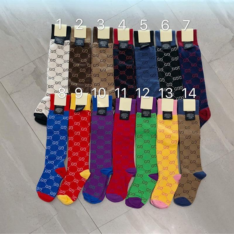 Şeker Renk Kadınlar Pamuk Çorap INS Moda Açık Spor Çorap Kişilik Bayan Harf Jakarlı Çorap