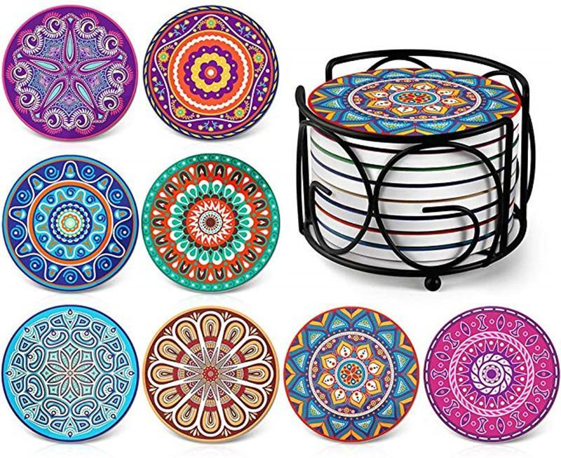 Coasters for Drinks Mandala Style Coaster silicone bowl mat Suitable for Kinds of Cups and Mugs Unique Present for Friends