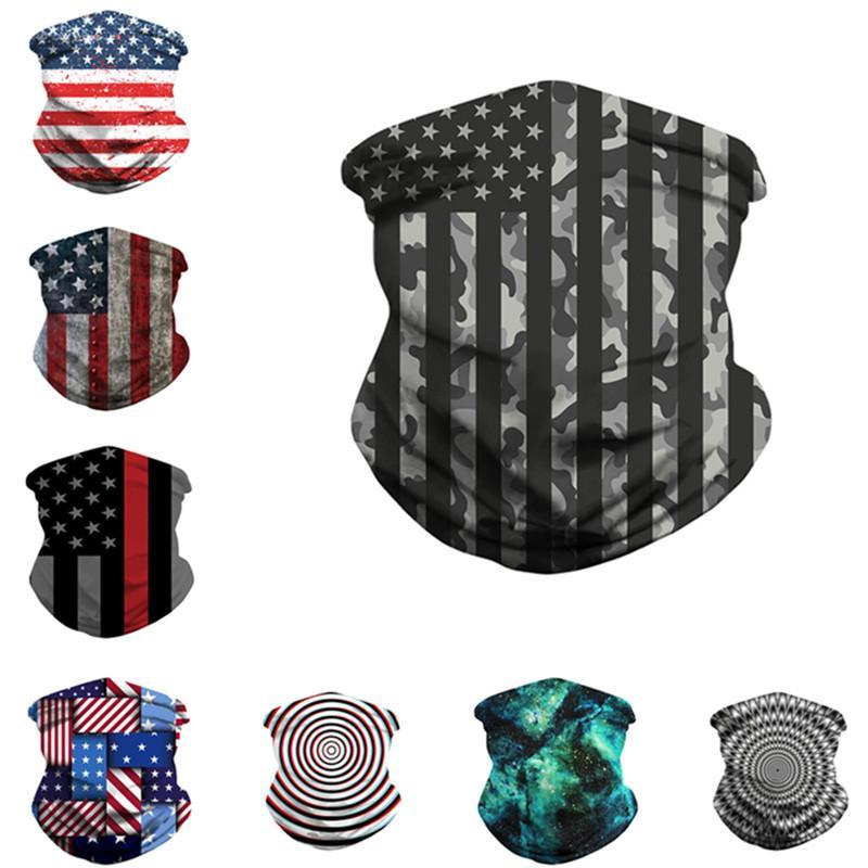 Магия американского флаг шарф 3D печать маска для лица Маски Мужчины Женщины пыл Солнцезащитных шарфов Бандан Tube Headwear Открытого Велоспорт 8 цветов