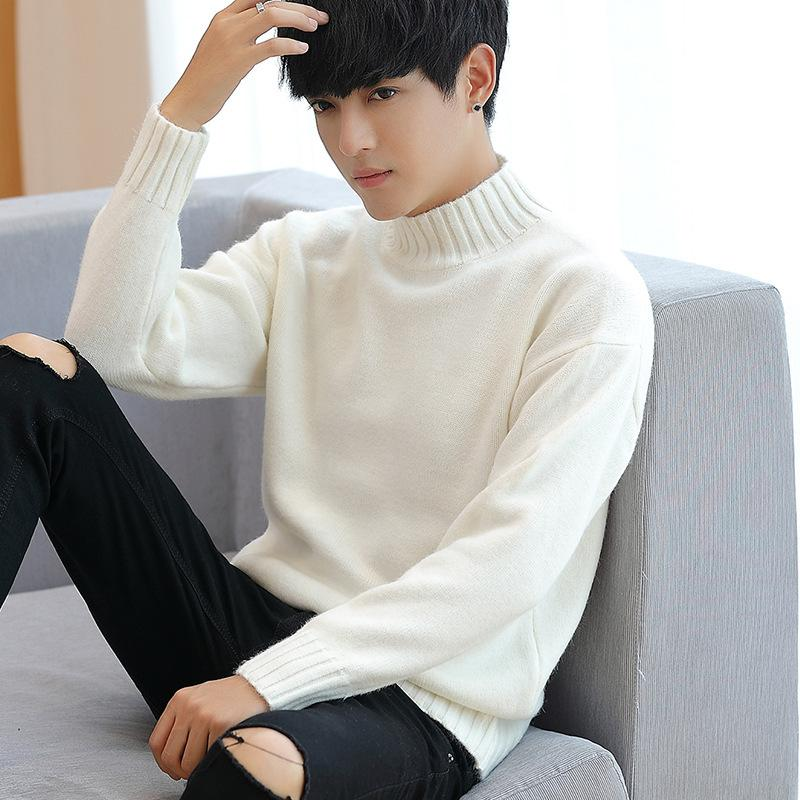 Korean Style Solid Knitted Pullover Sweater Men Thick Slim Casual Knitted Pullover O-Neck Black Blue Men Clothes 2019