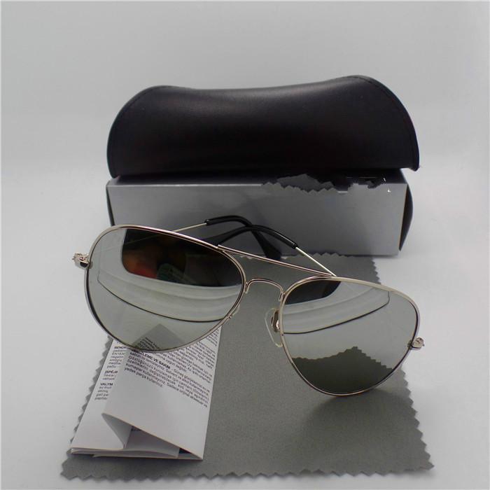 Atacado de alta qualidade lente de vidro Marcas Óculos de sol das mulheres dos homens do metal FraTrends Vintage Óculos Plano 10 Espelho Cor UV400 Pilot Casos Box