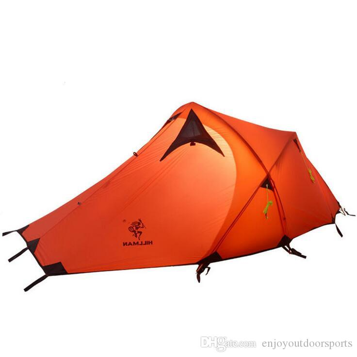 2-3 Person Waterproof Double Layer Outdoor Tent Ultralight 210T 4 Season Aluminum Pole Hiking Camping Tent 20D Silicone Fabric Hiking Tent