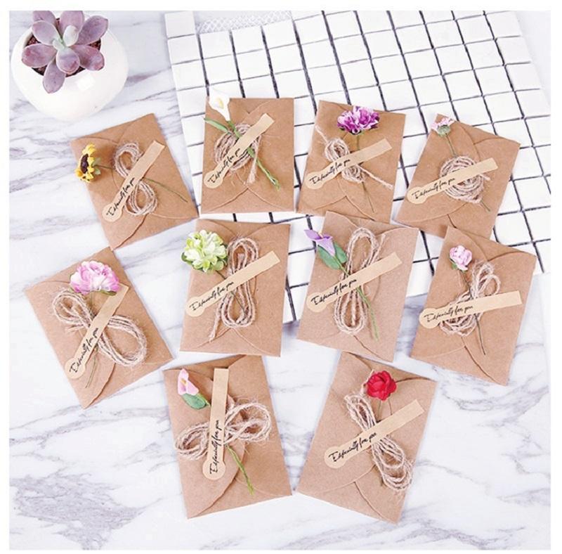 diy kraft paper handmade dry flower invitation greeting