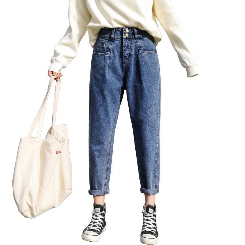 무 바지 여성의 봄 2019 새로운 스타일의 연기 튜브 바지 한국어 버전 슬림 구 점 직선 관 청바지 검은 청바지