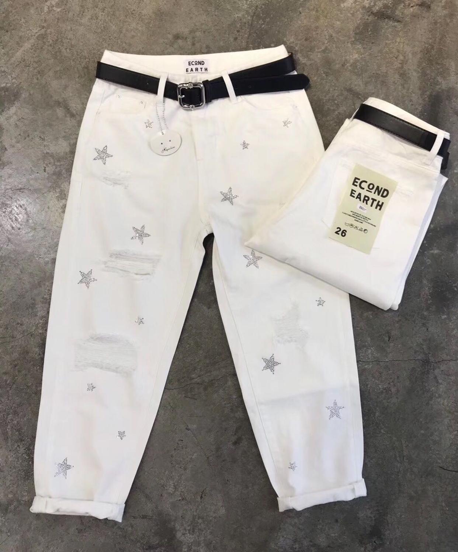 Белые джинсы женщины высоких летних свободно моды Wais отверстие длина лодыжки шаровары