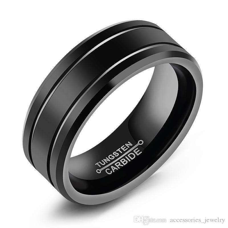 La nouvelle conception de haute qualité Hommes Bijoux Cadeau Bague Vente Hot cool Antique Design Noir Solidité tungstène anneau en acier