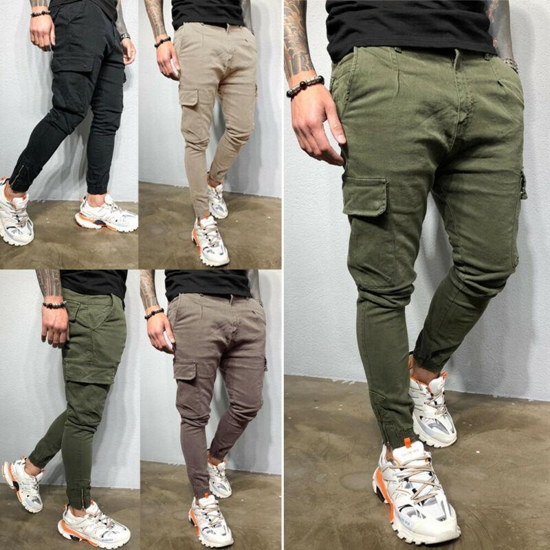 Men Casual Solid Pocket Cargo Pants Harem Joggers Harajuku Sweatpant Hip Hop Trousers Bottoms Pants Plus Size M-3XL