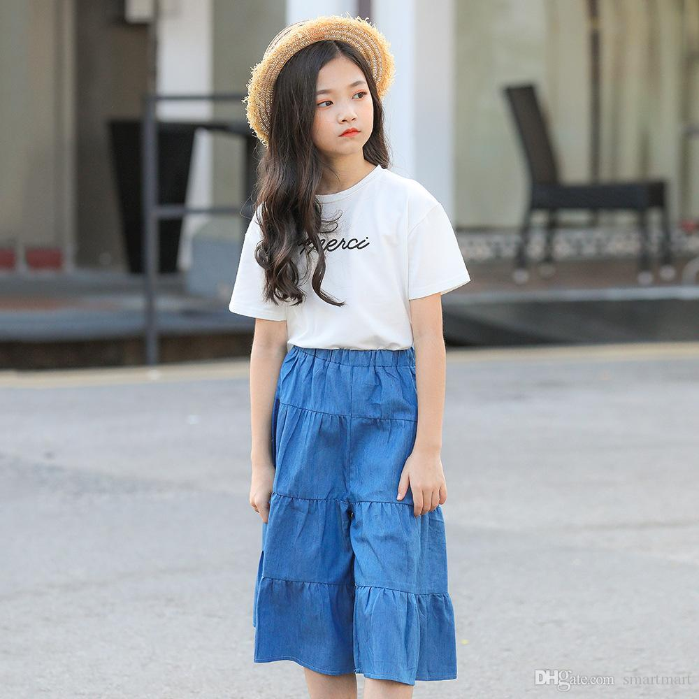 2019 Cute Big Girls Summer Outfits White Shirts And Ruffles Loose Short Pants Sets Cute Fashion Western Clothing From Smartmart Price Dhgate Com
