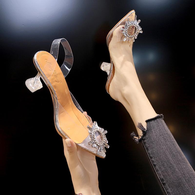 Luxe Femmes Pompes 2019 High Heels transparent sexy bout pointu Slip-on Chaussures de soirée de mariage Marque de mode pour les talons Lady minces