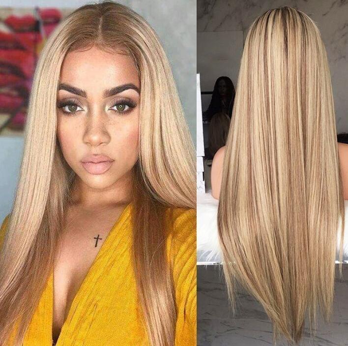 Avrupa ve Amerikan Bayan Peruk Sarışın Degrade Uzun Düz Saç Tam Boyalı Kimyasal Elyaf Kıllar Gül Net Peruk Set