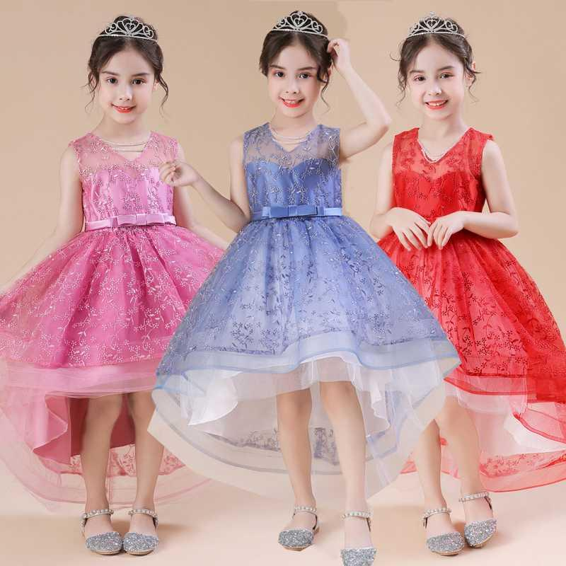 Summer Embroidered Trailing Kids Dresses For Girls Evening Children Clothes Princess Flower Girl Dresses for Wedding Costume 12