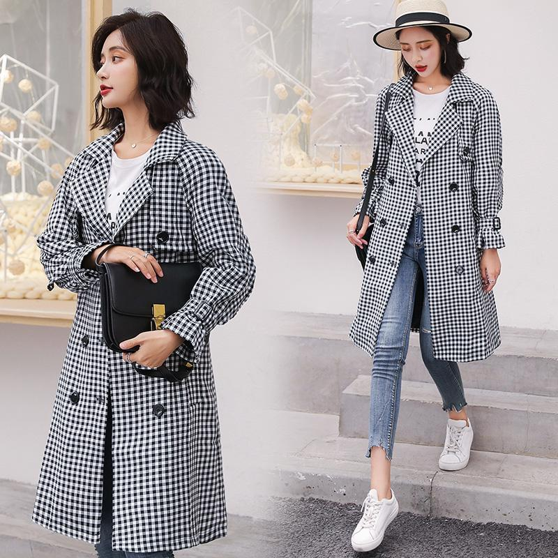 the best attitude high fashion shop for original 2019 YASUGUOJI New 2019 Spring Fashion Plaid Trench Coat Women Double  Breasted Casual Checkered Trench Coat For Women With Belt From Piaocloth,  $72.86 ...