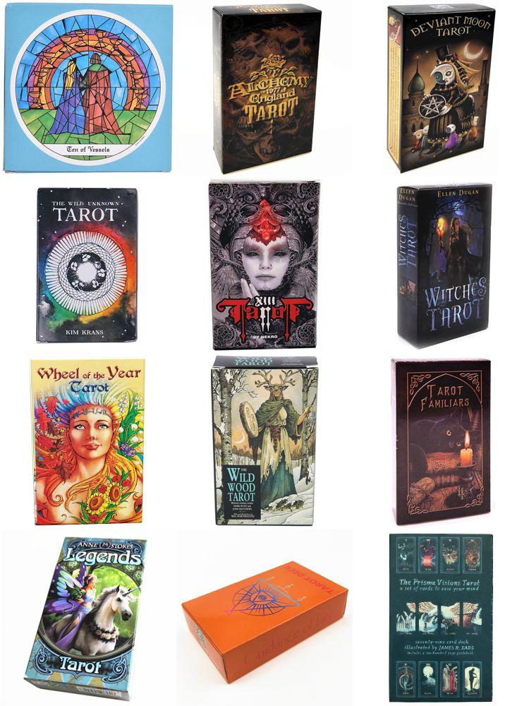 الإصدار الإنجليزي 12 أنماط بطاقات التارو 78pcs / مجموعة بطاقات الألعاب مع مربع الملونة تعليمات اللغة الإنجليزية أرسل عبر البريد الإلكتروني للأطفال اللعب GSS398