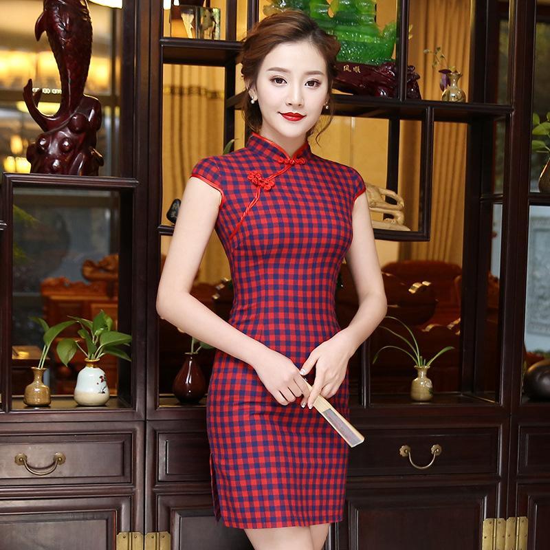 빈티지 격자 무늬 중국어 번체 드레스 여성 여름 코튼 리넨 Qipao 짧은 슬림 섹시한 치파오 최고 크기 S M L XL XXL XXXL