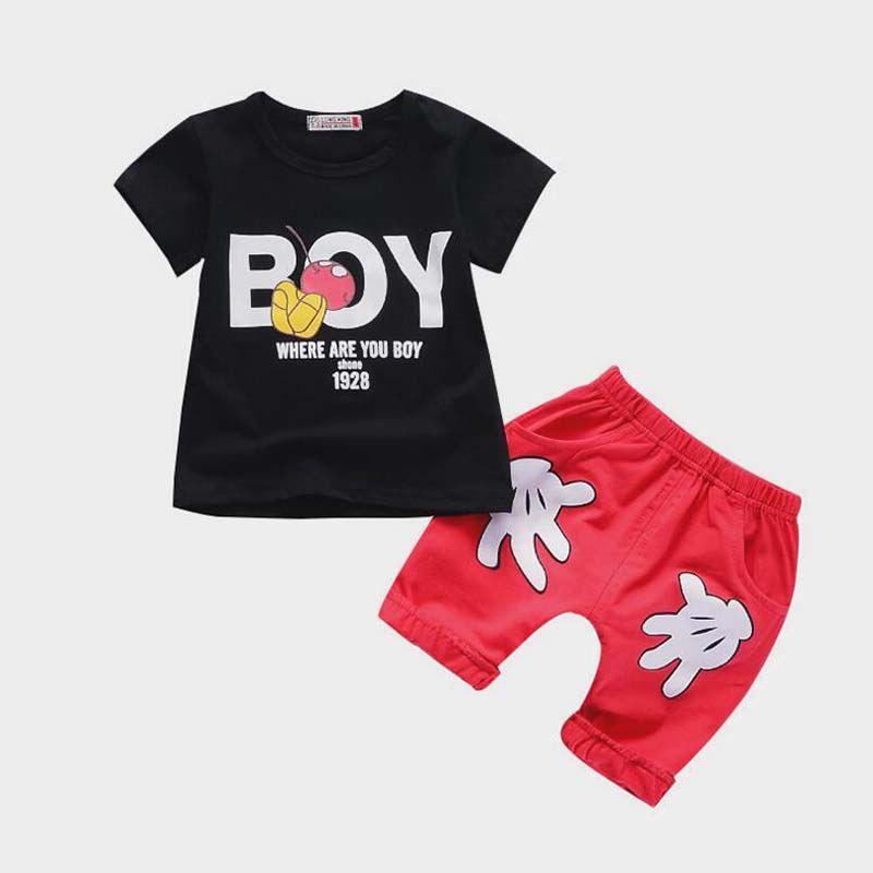 Baby-Sommerkleidung stellt beiläufiges Baumwollt-shirt des Kleinkindes + kurze Trainingsanzüge der Hosen 2pcs für neugeborene Babykleidung der Jungen Säuglingssportklagen ein
